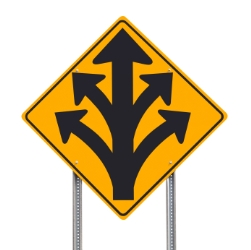 Division Ahead Traffic Sign Isolated